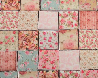 Ceramic Mosaic Tiles - Shabby Chic Roses Flower Pink Mint Ivory Rose Mixed Mosaic Tile - 35 Pieces /Mosaic Art / Mixed Media Art/Jewelry