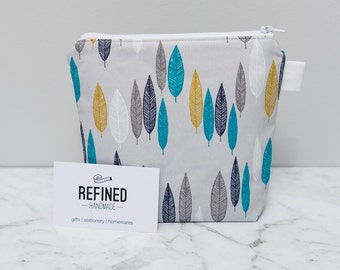 Teal and Gold Leaves Makeup Bag / Make up bag / cosmetic / toiletry bag / zippered pouch / purse