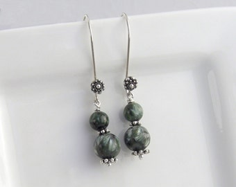 Seraphinit earrings, 925 sterling silver, dark green gems, stones, Serafinit round earrings