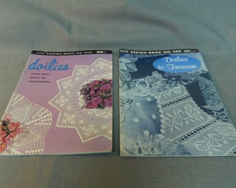 Crochet Patterns, Doilies and Doilies to Treasure, Lily Design Book 208 and 209, 1960s Doilies, Home Decor, Room Decor
