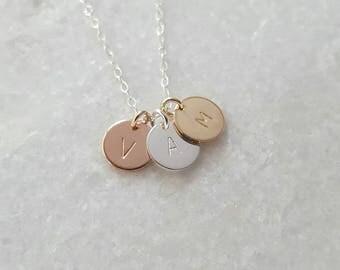 Harper and eden australia by harperandedenau on etsy triple initial necklace 14k rose gold sterling silver gold filled gift for aloadofball Images