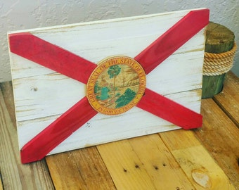Florida State Flag Handmade Distressed Reclaimed Wood, Vintage, Weathered, Wooden Home Decor
