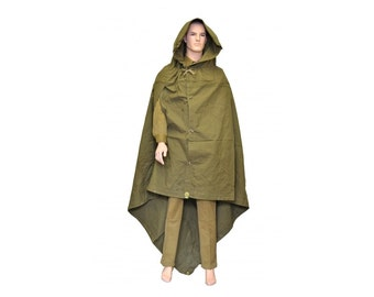 Genuine Soviet and Russian Army rain cape Olive Green Army poncho plash palatka