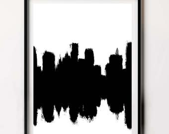 City Scape, Large Prints, Popular Prints, Trending Brushstroke Print, Printable Abstract