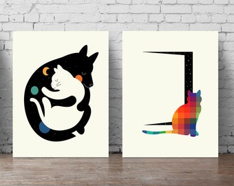 Cat Wall Decal Set A5 A0, Large Poster Set Black And White Cats Poster Part 95