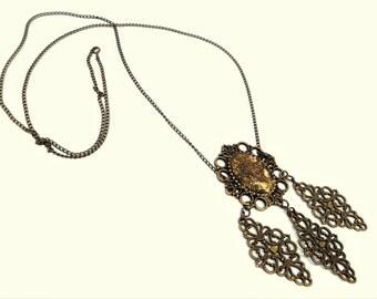 "Unique Necklace ""Orient"", Brown Gold Bronze, Steampunk, Burlesque Collar, Victorian, Goth Necklace, Brass Metal, Ornaments, Statement"
