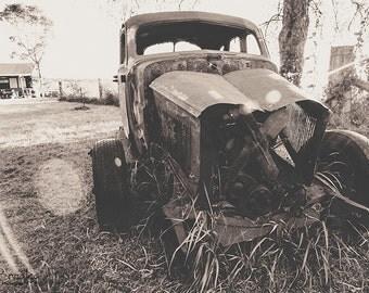 Decaying Truck, Original Photograph, Instant Digital Download, Wall Art, Decor, Rust, Rural, Black & White, Vintage, Farm, Metal, Sun, Field
