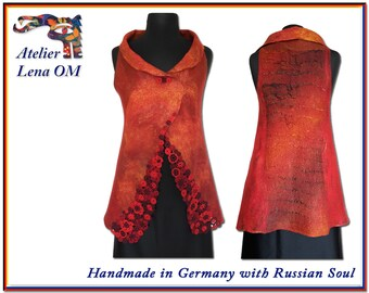 Double sided fire red orange dark brown nuno felted long woman's vest, decorated with handmade crochet Irish lace