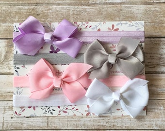 4 Bow Headbands, Bow Headband Set, Baby Headband Set, Baby Headband, Newborn Headband, Baby Girl Headband, Baby Hair Bow, Baby Shower Gift
