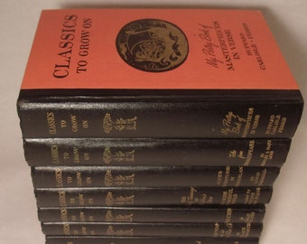 Orange Decorative Books, Black Spines, Antique Books, Vintage Book Collection, Children's,  Book Decor, Interior Design, Wedding Centerpiece