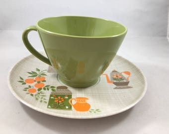 Vintage Cute Melmac Lenotex Cup and Saucer With Teapots and Oranges In Great 70s Green, Orange, and Brown 3 Available