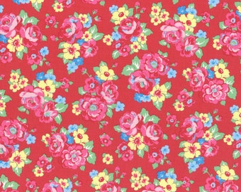 Red Floral Bouquet Print from the 1930's Collection by Lecien Fabrics