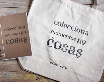 Natural cotton Pack bag + recycled paper notebook to choose