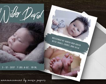 PHOTO BIRTH ANNOUNCEMENT - paint streaks - modern baby boy or girl newborn printable digital announcement - double sided 3 photo card