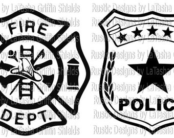 Fire and Police Badge SVG | Digital File