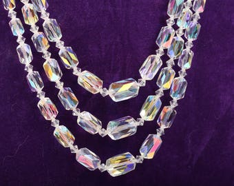 Wonderful 1930s Aurorae Borealis Glass Necklace, Triple Strand