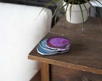 Agate Coaster Set - GOLD or SILVER Edge - Coasters - Set of 2 -  Perfect Housewarming Gift - Wedding Gift - Choose Your Colors