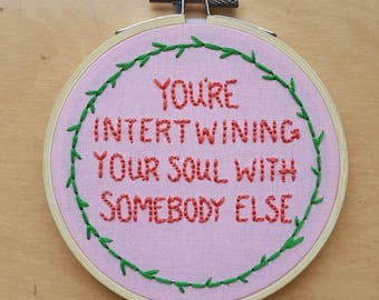 "Somebody Else The 1975 4"" Embroidery Hoop Art"