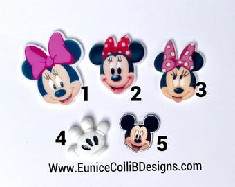 5 or 10 mix minnie mouse flat back inspired resins. minnie mouse cabochon