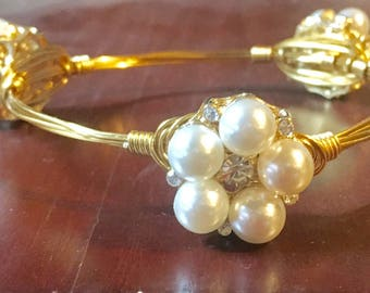 Handmade wrapped wire pearl and crystal bangle