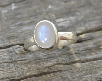 Rainbow Moonstone Ring,  Stacking Ring Sterling Silver Ring, Solid Silver Artisan Ring Birthstone Ring Gift Jewelry, Gold Moonstone Ring