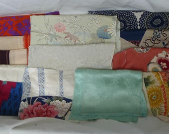 Assorted antique/vintage Kimono fabrics (small pieces) 100g - no.19