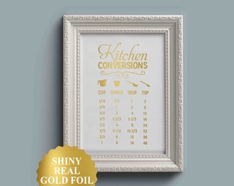 Kitchen Conversion Chart, Kitchen Art, Kitchen Posters, kitchen prints, Conversion, Chart, Charts, Measurement, Measurements, Equivalents