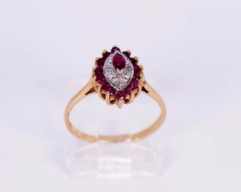 14K Yellow Gold Blue Ruby and Diamond Chip Ring, size 6.25