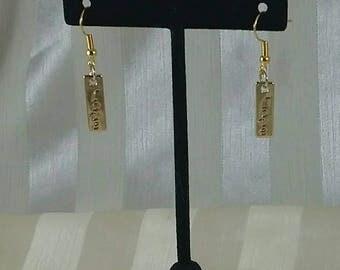 Gold love earrings