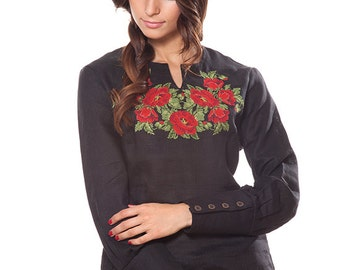 Black linen embroidered vyshyvanka blouse. Bohemian embroidered blouse Red poppies Folk shirt. In stock size S-3XL