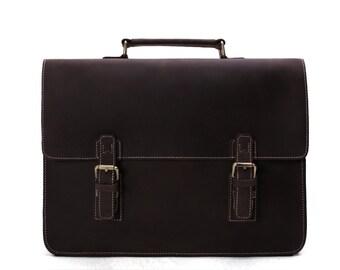 Handmade Luxury Vintage Leather Briefcase Men/Women Messenger Bag Laptop Bag, Satchel, Shoulder Bag Backpack Briefcase
