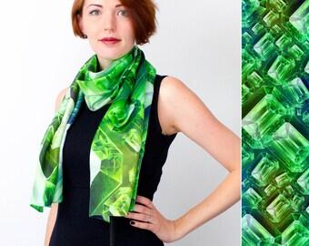 Silk Scarf, Greenery Scarf, Emerald Scarf, Brilliant, Printed Silk Scarf, Green Scarf, Gift For Her, Art Scarf, Shawl, Greenery Accessories