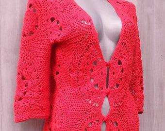 Red Cardigan, Crochet Summer Sweater Deep V Neck, Ladies Sweater, Womens 3/4 Sleeve Sweater, Customized Womens Clothing, Elegant Sweater
