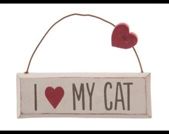 I love my cat mini wall plaque