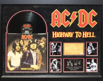 AC/DC - Highway To Hell - Signed Vinyl Album Custom Framed with COA
