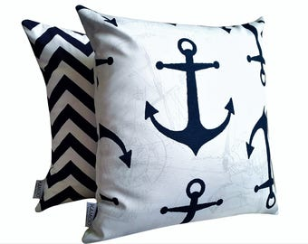 Sale! Nautical Indoor Outdoor Cushion Cover, Navy White Cushion Cover, Anchor Cushion Cover, Ocean Cushion, Outdoor Cushion, Coastal Cushion