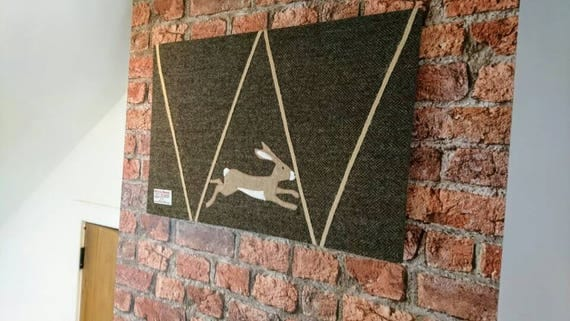 Hand Crafted Harris Tweed running hare Design memo board