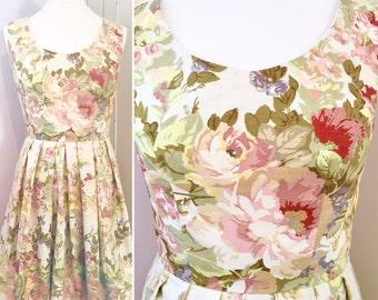 Cream floral dress, vintage floral dress, sanderson print dress, vintage fabric dress, unique dress, wedding guest dress, Sanderson fabric