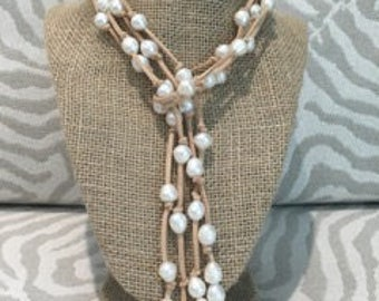 Vegan Suede Freshwater Pearl Lariat Necklace