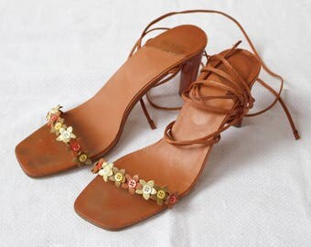 Ted Baker Summer Sandals, Ted Baker Holiday Sandals, Ladies Strappy Sandals, Sandals with Buttons, Orange Party Sandals UK Size 7 EU Size 40
