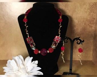 Red Elegance Necklace Earring Set
