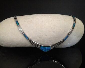 necklace opal, meander necklace, sterling silver 925 meander, meandros greek key opal necklace, ancient greek key silver 925 jewelry