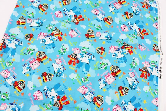 Robocar poli roy amber helly korean anime character fabric for Kids character fabric