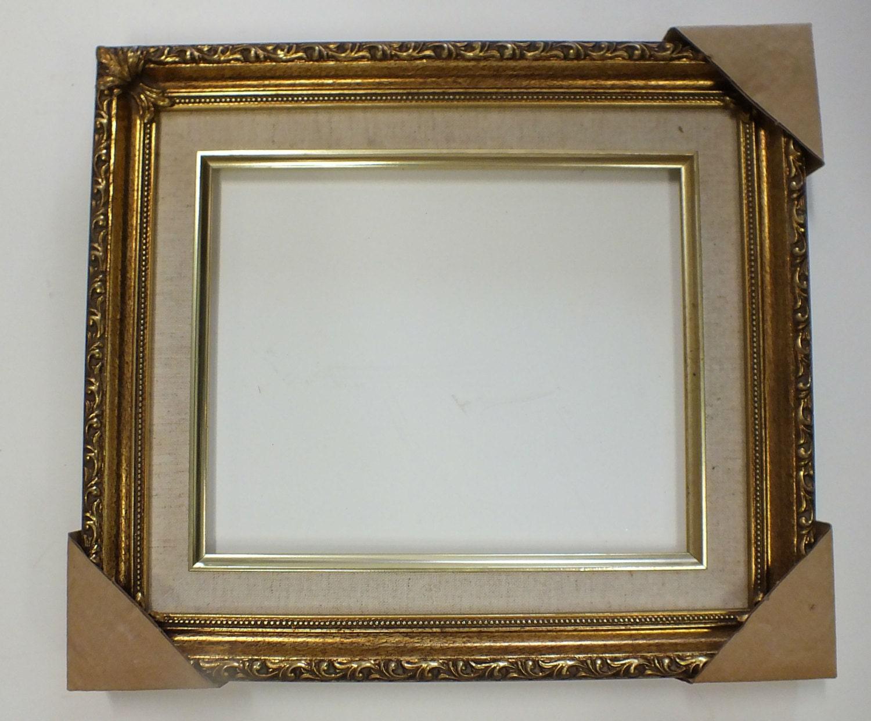 8 x 10 gold ornate picture frame w linen liner new downton. Black Bedroom Furniture Sets. Home Design Ideas