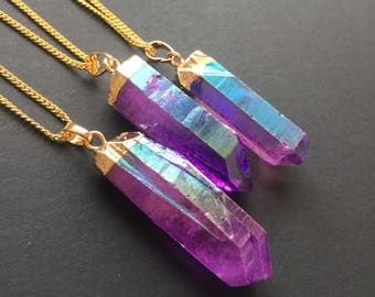 Rainbow Aura Crystal Necklace Aura quartz Boho necklace Pendant Healing crystal