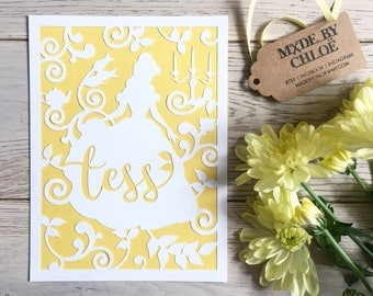 """Personalised Beauty & The Beast Disney Princess 'Belle' papercut, 6x8"""" with yellow mount"""