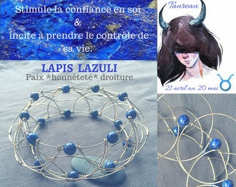 TAUREAU_LAPIS LAZULI_Mandala 3D, bracelet, pendant, necklace, stress ball, 3rd chakra eye protection, stone of purification, true,