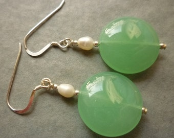 Sea green chalcedony disc earrings with pearls and sterling silver earwires