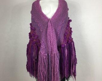 Vtg 70s knit woven fringe wool Gogo Bregante ombre avant garde textile art shawl poncho cape