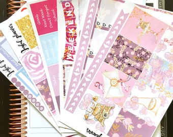 Spring planner stickers weekly kit:  TELEPHONE Gilded Elegance Collection for Erin Condren ECLP and MAMBI Happy Planner Ready To Ship!